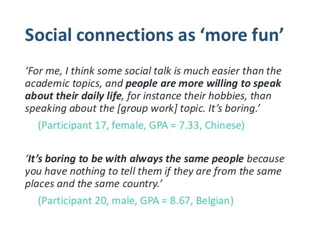 Social connections as helpful for 'others' 'Sometimes they need to be pushed into this, pushed into the cold water of sayi...