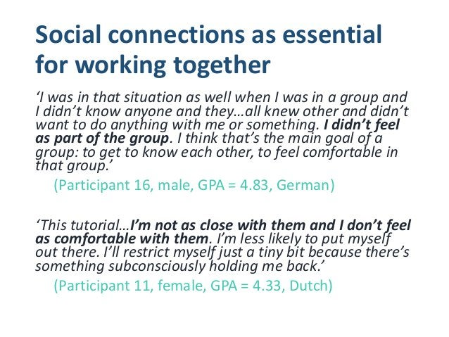 Cross-cultural group work as inherently socially awkward 'I came in class and I was just looking at random strangers and l...