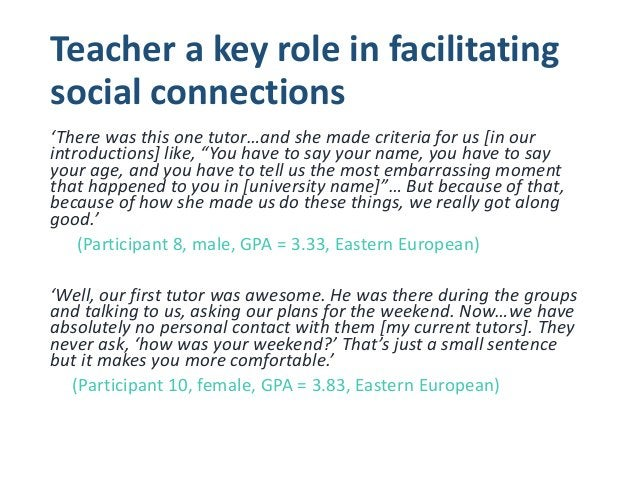 Conclusions 1.) All students desired an opportunity to form connections with diverse peers 2.) Subtle variations for reaso...