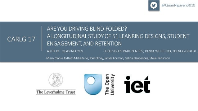 Click to edit Master title style ARE YOU DRIVING BLIND-FOLDED? A LONGITUDINALSTUDY OF 51 LEANRINGDESIGNS, STUDENT ENGAGEME...