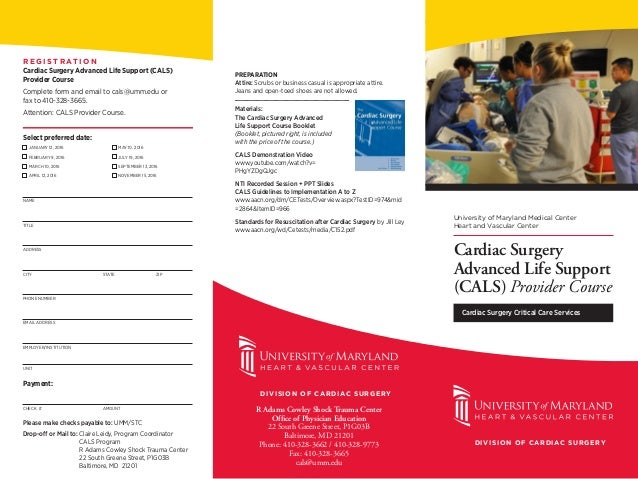 Cardiac Surgery Advanced Life Support ~ CALS ~ Provider Course