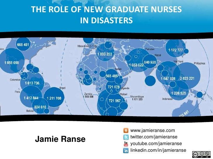 THE ROLE OF NEW GRADUATE NURSES           IN DISASTERS                    www.jamieranse.com                    twitter.co...