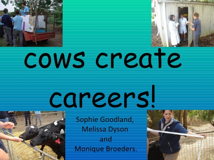 cows create careers! Sophie Goodland, Melissa Dyson and Monique Broeders.