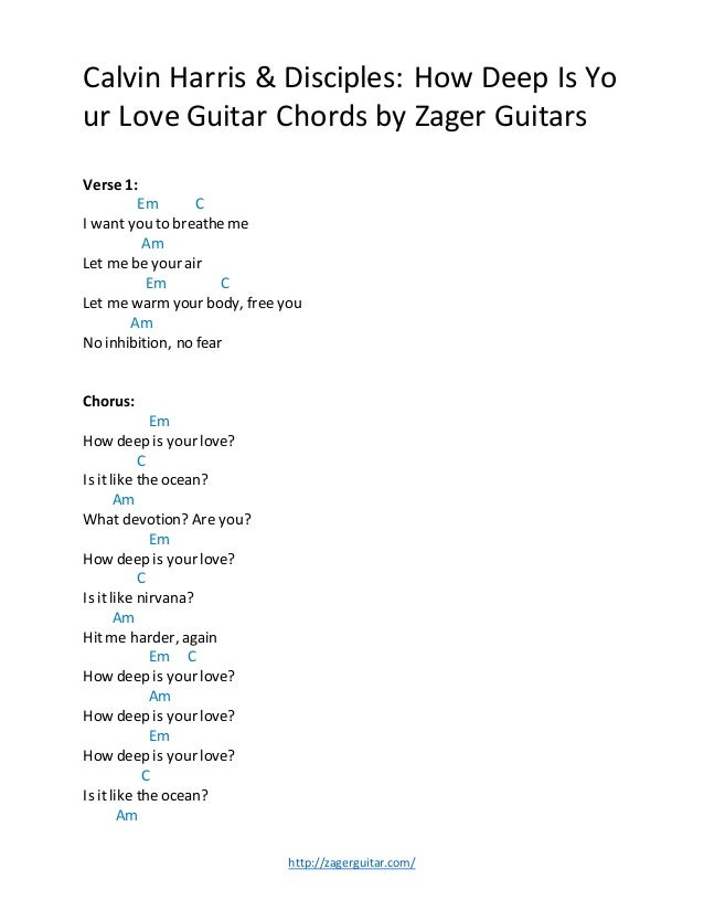 Calvin Harris Disciples How Deep Is Your Love Guitar Chords By Zag