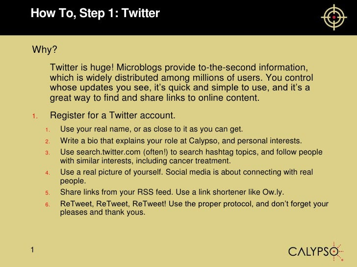 How To, Step 1: Twitter<br />Why?<br />	Twitter is huge! Microblogs provide to-the-second information, which is widely dis...