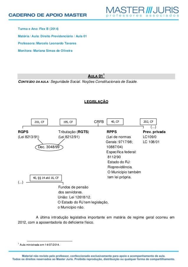 Turma e Ano: Flex B (2014) Matéria / Aula: Direito Previdenciário / Aula 01 Professora: Marcelo Leonardo Tavares Monitora:...