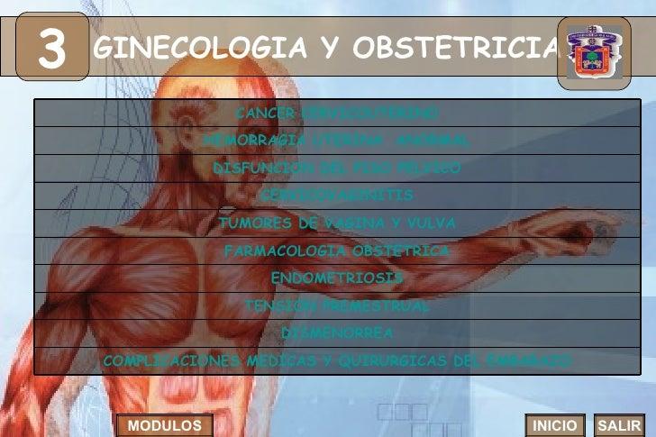 GINECOLOGIA Y OBSTETRICIA 3 INICIO SALIR MODULOS FARMACOLOGIA OBSTETRICA DISMENORREA CERVICOVAGINITIS TUMORES DE VAGINA Y ...