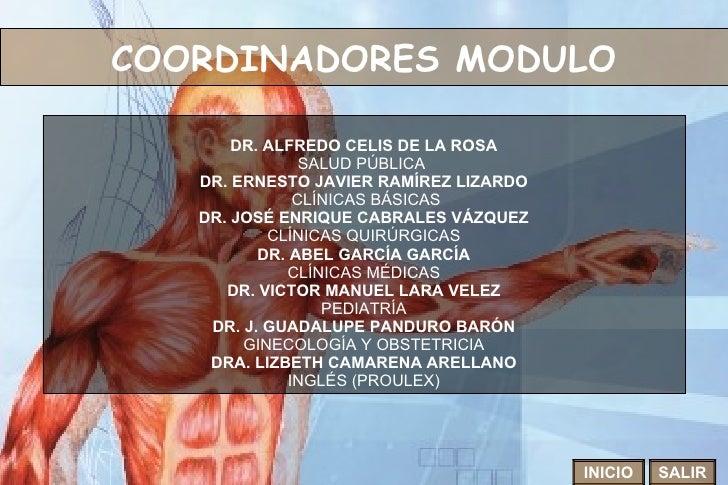 COORDINADORES MODULO INICIO SALIR DR. ALFREDO CELIS DE LA ROSA SALUD PÚBLICA  DR. ERNESTO JAVIER RAMÍREZ LIZARDO CLÍNICAS ...