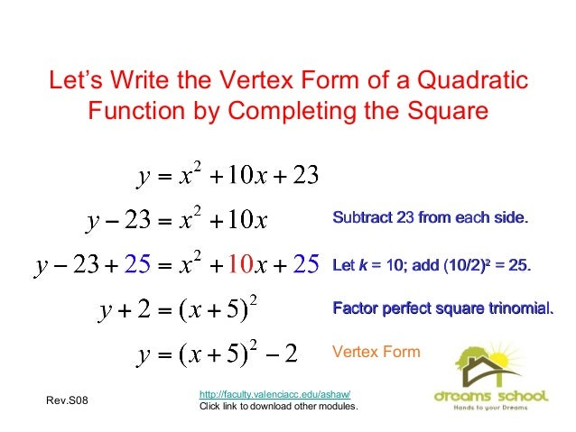 write in vertex form Write in vertex form y=x²+16x+14 thanks.