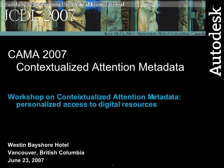 CAMA 2007 Contextualized Attention Metadata Workshop on Conteixtualized Attention Metadata: personalized access to digital...
