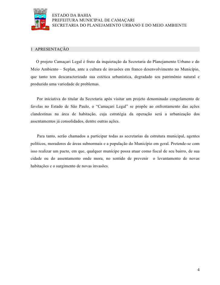 ESTADO DA BAHIA             PREFEITURA MUNICIPAL DE CAMAÇARI             SECRETARIA DO PLANEJAMENTO URBANO E DO MEIO AMBIE...