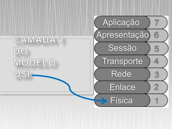 • Camada Física• Trata a transmissão dos bits brutos pelo canal de  comunicação.• A camada física define as característica...