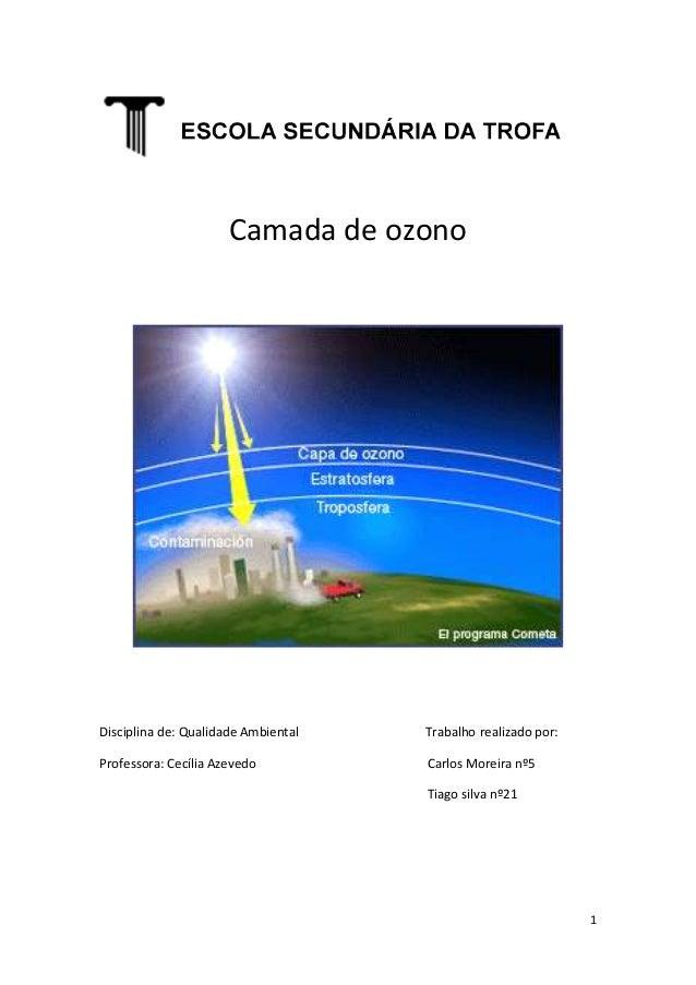 Camada de ozonoDisciplina de: Qualidade Ambiental   Trabalho realizado por:Professora: Cecília Azevedo          Carlos Mor...
