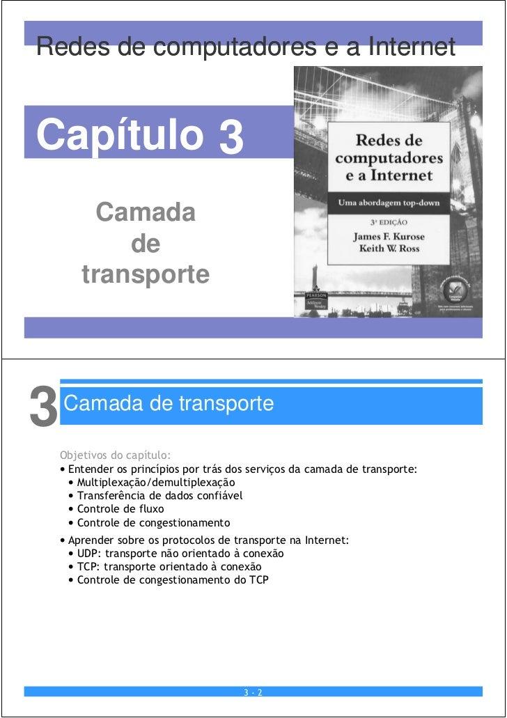 Redes de computadores e a InternetCapítulo 3         Camada            de        transporte3   Camada de transporte    Obj...