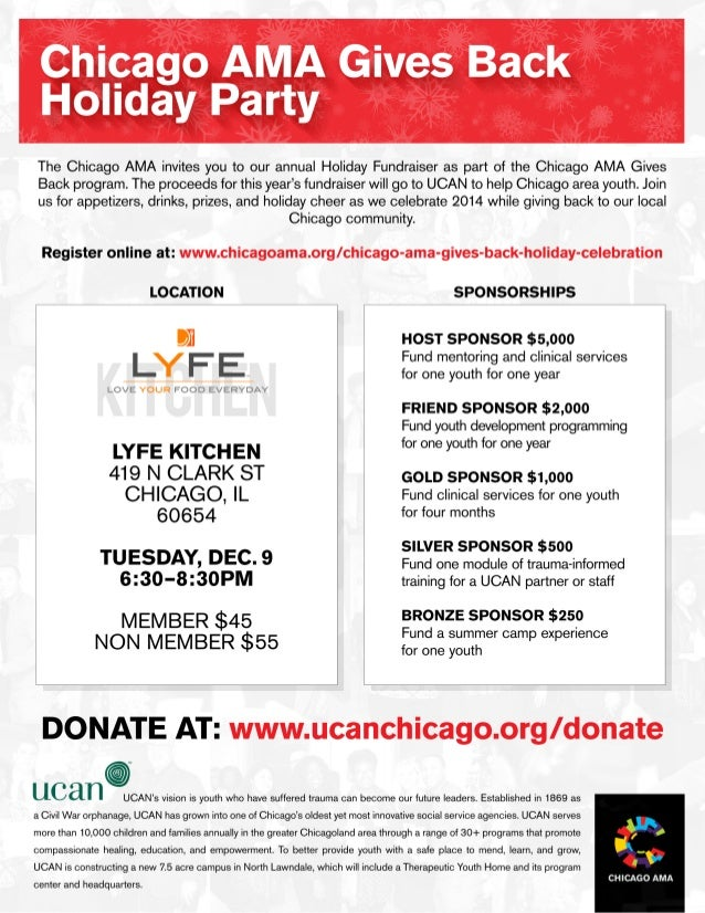 The Chicago AMA invites you to our annual Holiday Fundraiser as part of the Chicago AMA Gives Back program.  The proceeds ...