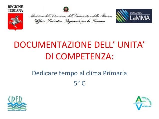 DOCUMENTAZIONE DELL' UNITA' DI COMPETENZA: Dedicare tempo al clima Primaria 5° C