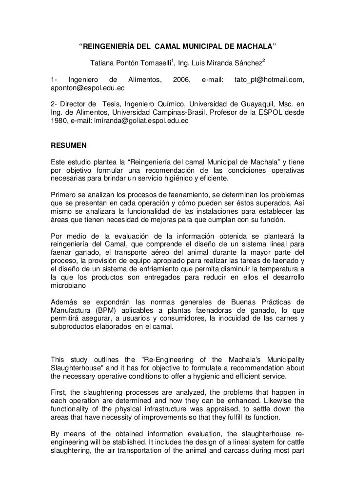 """REINGENIERÍA DEL CAMAL MUNICIPAL DE MACHALA""            Tatiana Pontón Tomaselli1, Ing. Luis Miranda Sánchez21-   Ingenie..."