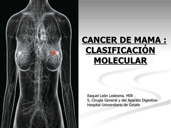 CANCER DE MAMA : CLASIFICACIÓN MOLECULAR <ul><li>Raquel León Ledesma. MIR </li></ul><ul><li>S. Cirugía General y del Apara...