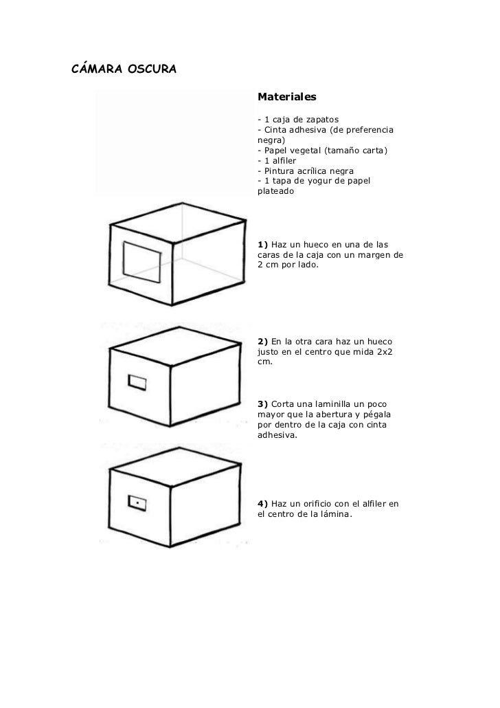 CÁMARA OSCURA                Materiales                - 1 caja de zapatos                - Cinta adhesiva (de preferencia...