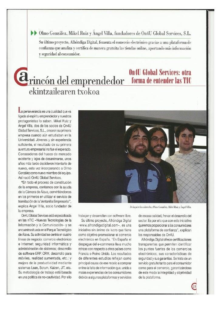 On4U en la revista Actualidad de la Cámara de Álava