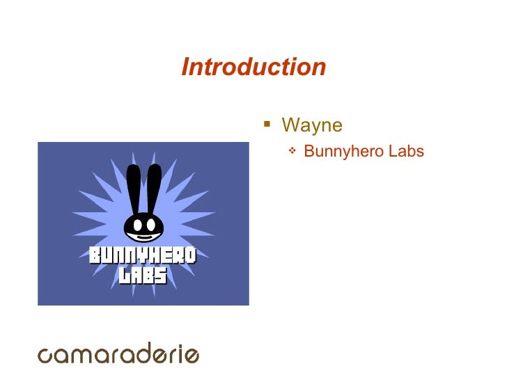 Introduction <ul><li>Wayne </li></ul><ul><ul><li>Bunnyhero Labs </li></ul></ul>
