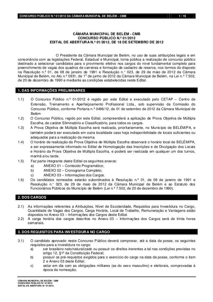 CONCURSO PÚBLICO N.º 01/2012 DA CÂMARA MUNICIPAL DE BELÉM – CMB                                         1 / 15            ...