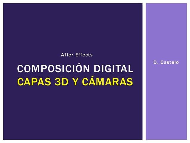 D. Castelo COMPOSICIÓN DIGITAL CAPAS 3D Y CÁMARAS After Effects