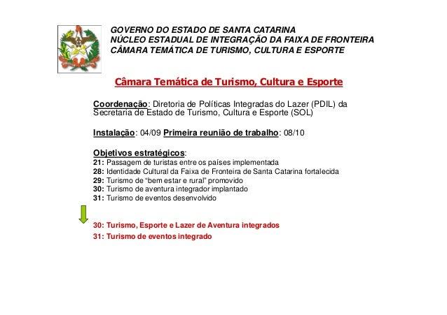 Câmara Temática de Turismo, Cultura e Esporte Coordenação: Diretoria de Políticas Integradas do Lazer (PDIL) da Secretaria...