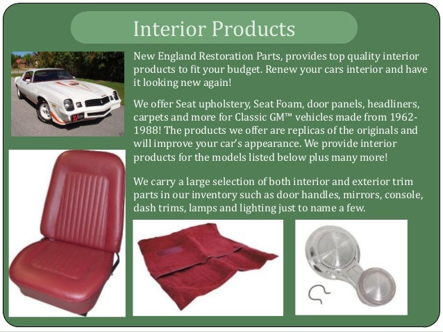 Chevy Restoration Parts Plainville CT, Firebird Upholstery Plainville…