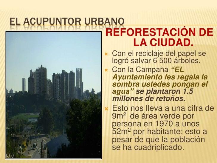 EL ACUPUNTOR URBANO<br />REFORESTACIÓN DE LA CIUDAD.<br />Con el reciclaje del papel se logró salvar 6 500 árboles.<br />C...