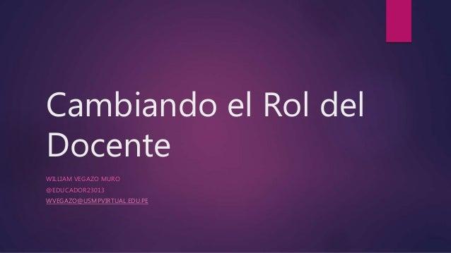 Cambiando el Rol del Docente WILLIAM VEGAZO MURO @EDUCADOR23013 WVEGAZO@USMPVIRTUAL.EDU.PE