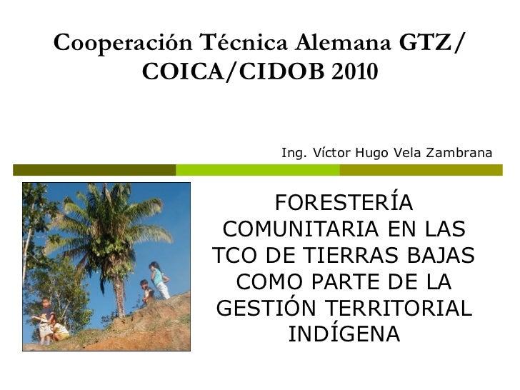 Cooperación Técnica Alemana GTZ/COICA/CIDOB 2010 FORESTERÍA COMUNITARIA EN LAS TCO DE TIERRAS BAJAS COMO PARTE DE LA GESTI...