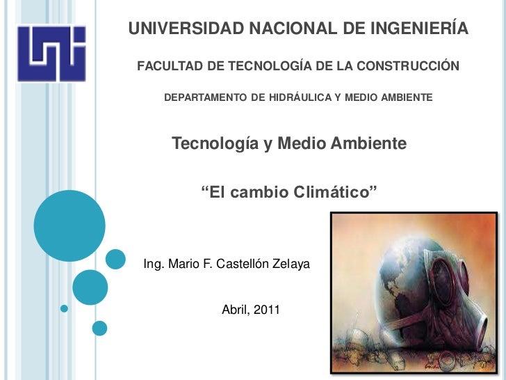 UNIVERSIDAD NACIONAL DE INGENIERÍAFACULTAD DE TECNOLOGÍA DE LA CONSTRUCCIÓN    DEPARTAMENTO DE HIDRÁULICA Y MEDIO AMBIENTE...