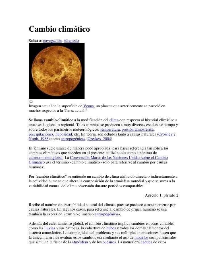 Cambio climáticoSaltar a: navegación, búsquedaImagen actual de la superficie de Venus, un planeta que anteriormente se par...