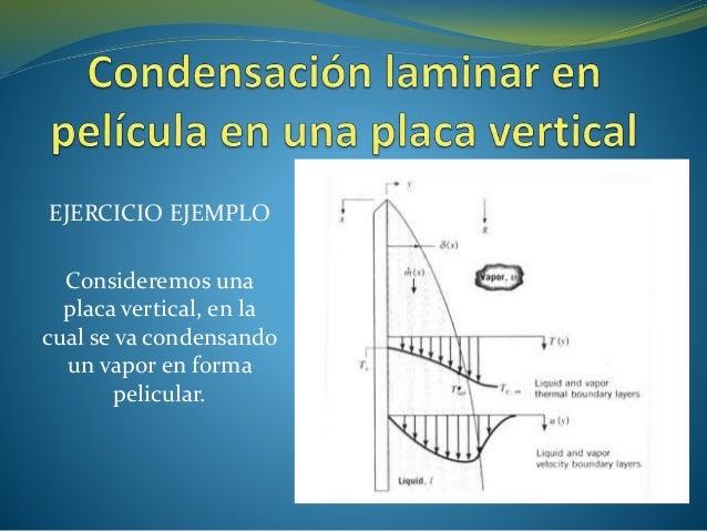 EJERCICIO EJEMPLO Consideremos una placa vertical, en la cual se va condensando un vapor en forma pelicular.