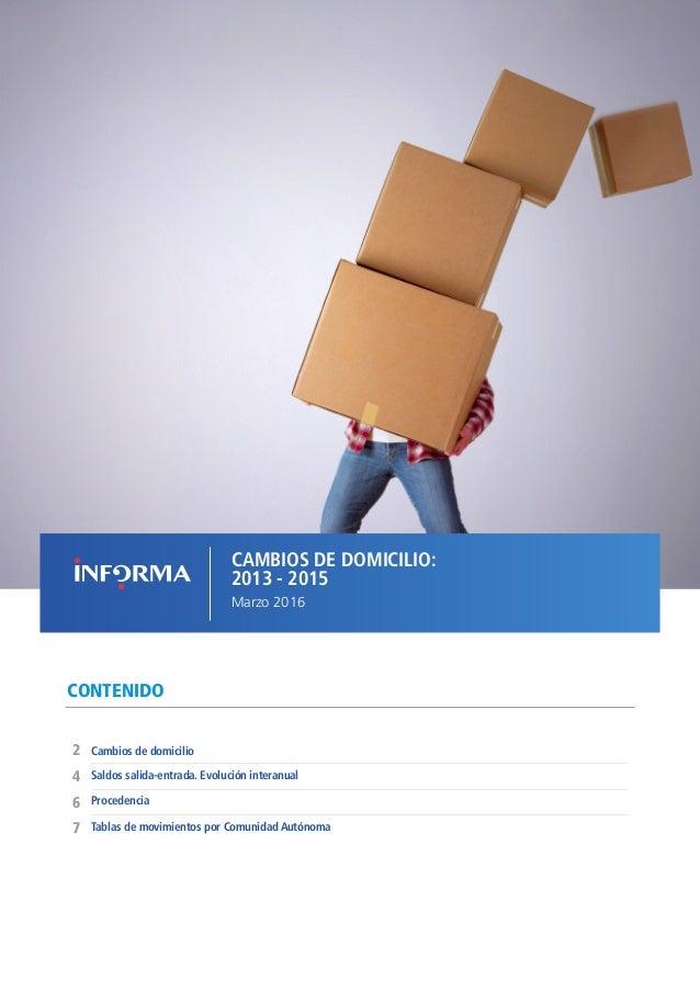 CAMBIOS DE DOMICILIO: 2013 - 2015 Marzo 2016 CONTENIDO Procedencia Cambios de domicilio2 6 4 Saldos salida-entrada. Evoluc...