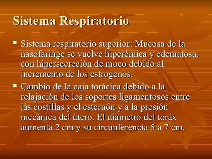 Sistema Respiratorio <ul><li>Sistema respiratorio superior: Mucosa de la nasofaringe se vuelve hiperémica y edematosa, con...