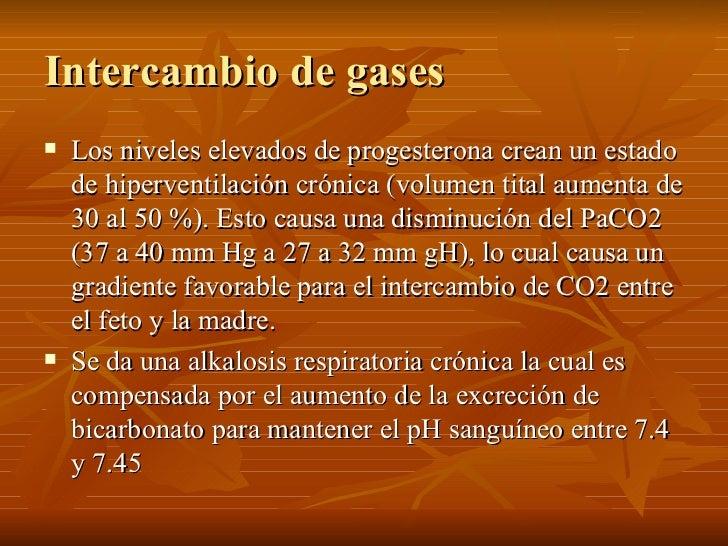 Intercambio de gases <ul><li>Los niveles elevados de progesterona crean un estado de hiperventilación crónica (volumen tit...