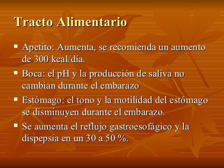 Tracto Alimentario <ul><li>Apetito: Aumenta, se recomienda un aumento de 300 kcal/día. </li></ul><ul><li>Boca: el pH y la ...