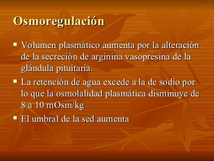 Osmoregulación <ul><li>Volumen plasmático aumenta por la alteración de la secreción de arginina vasopresina de la glándula...
