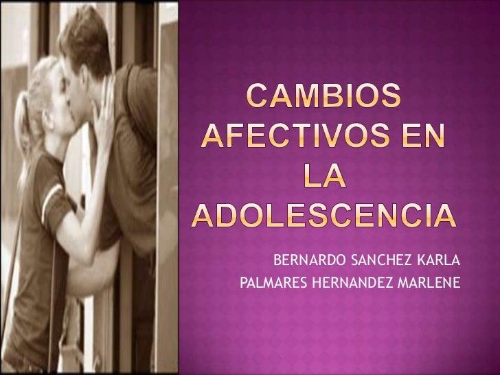 Cambios afectivos en la adolescencia<br />BERNARDO SANCHEZ KARLA<br />PALMARES HERNANDEZ MARLENE <br />