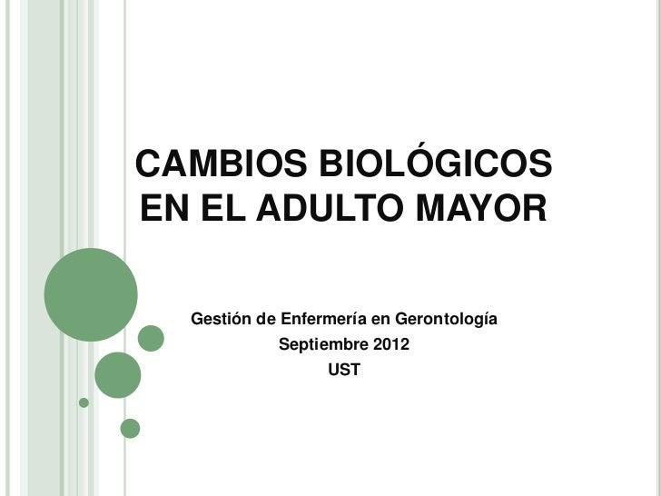 CAMBIOS BIOLÓGICOSEN EL ADULTO MAYOR  Gestión de Enfermería en Gerontología            Septiembre 2012                  UST
