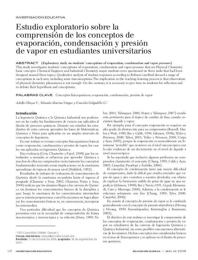 investigación educativa educación química • abril de 2008 108 INVESTIGACIÓN EDUCATIVA Estudio exploratorio sobre la com...