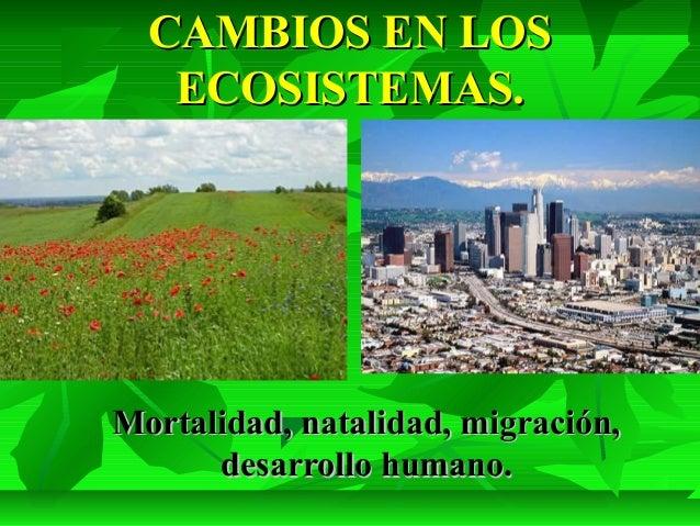 CAMBIOS EN LOSCAMBIOS EN LOS ECOSISTEMAS.ECOSISTEMAS. Mortalidad, natalidad, migración,Mortalidad, natalidad, migración, d...