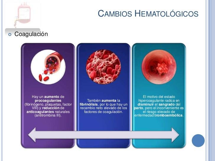 CAMBIOS HEMATOLÓGICOS   Coagulación             Hay un aumento de                                                  El mot...