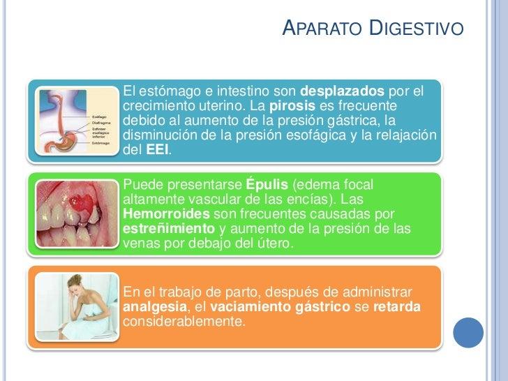 APARATO DIGESTIVOEl estómago e intestino son desplazados por elcrecimiento uterino. La pirosis es frecuentedebido al aumen...