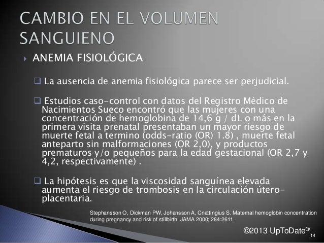  ANEMIA FISIOLÓGICA  La ausencia de anemia fisiológica parece ser perjudicial.  Estudios caso-control con datos del Reg...