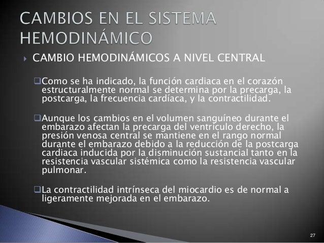  CAMBIO HEMODINÁMICOS A NIVEL CENTRAL Como se ha indicado, la función cardiaca en el corazón estructuralmente normal se ...