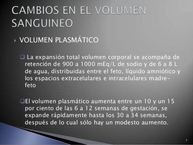 7  VOLUMEN PLASMÁTICO  La expansión total volumen corporal se acompaña de retención de 900 a 1000 mEq/L de sodio y de 6 ...