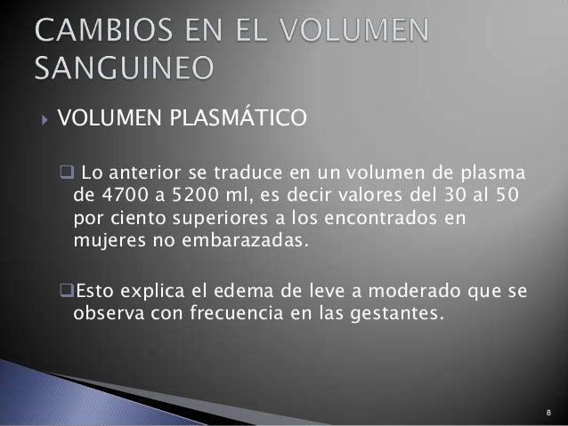 8  VOLUMEN PLASMÁTICO  Lo anterior se traduce en un volumen de plasma de 4700 a 5200 ml, es decir valores del 30 al 50 p...